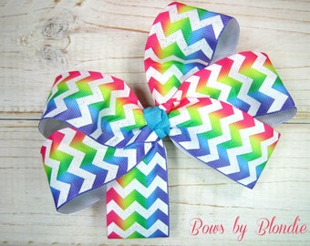 Large Glitter Rainbow Chevron bow!