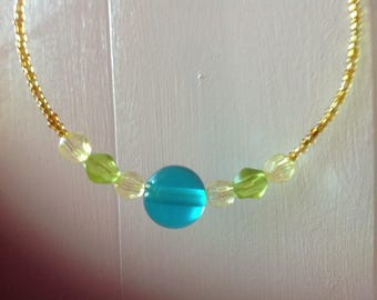 Gold Tropical Bright Blue And Green Beaded Necklace