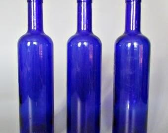 Leere Flasche Wein / Blaues Glas / Flasche Handwerk / Flaschen Für Kunst /  Leer Wein