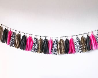 Tassel Garland |  Zebra Party Decor | Leopard Party Decor | Cheetah Party Decor | Animal Print Party Decor | Jungle Party Decor | Tassel Ban