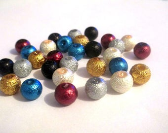 30 bead mix of brilliant glass 8mm