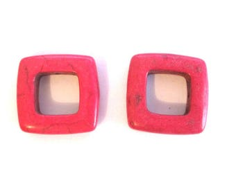 Pink 2 howlite square beads 19mm