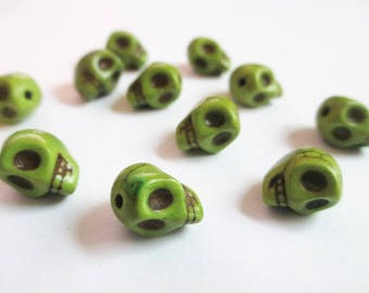 10 green skull 9x7.5x9mm synthetic turquoise beads