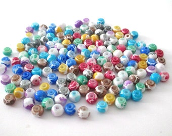 160 speckled white glass beads mix color 4mm