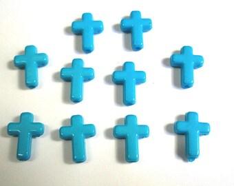 10 16 x 12 x 4 mm blue acrylic cross beads