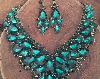 Emerald Green Statement Necklace and Earrings Set, green rhinestone pageant necklace set