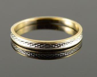 10k Two Tone Textured Vintage Wedding Band Ring Gold