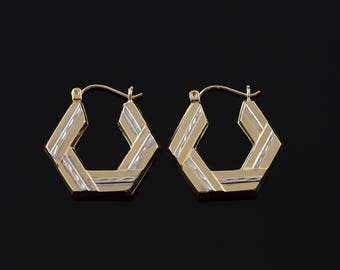 25.3mm Hexagonal Two Tone Textured Hoop Earrings Gold