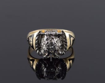10k 0.44 Ct Diamond Masonic Mason Eagle Ring Gold