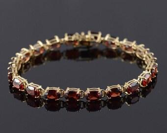 "14k 15.00 CTW Red Garnet Tennis Bracelet Gold 7"""