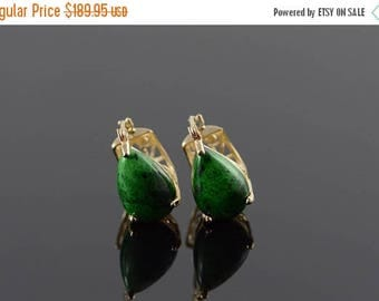 Big SALE 14k 12x8mm Green Malachite Filigree Hoop Earrings Gold