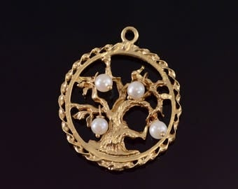 14k Pearl Beaded Round Tree of Life Pendant Gold