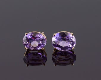 14k Amethyst Oval Prong Set Stud Earrings Gold