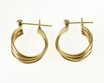 14k Three Tiered Layered Twist Tube Hoop Earrings Gold