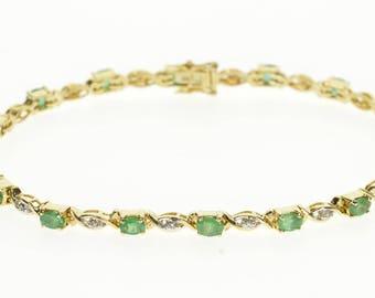 "14k 3.30 Ctw Emerald Diamond Encrusted Wavy Tennis Bracelet Gold 7.25"""