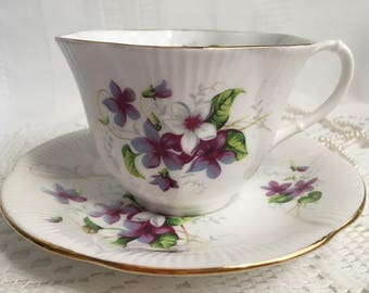 Royal Albert Bone China Tea Cup and Saucer, Purple and White Violets with Gold Trim
