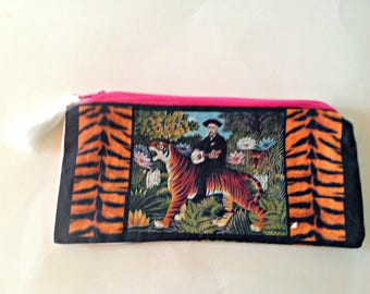 Art Bag, Purse, Henri Rousseau's  Tiger,Versatile Pouch,Colorful, Original Fabric,Pencil, Sweet Gift