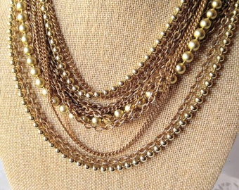 TONS OF CHAINS-Vintage Gold Necklace-Beads-11 Total-Multi Strand-Twist it Too!-All Orders Only 99c Shipping!