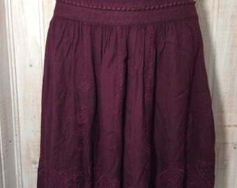 Crimson red vintage retro boho, gypsy style with embroidery size 8 skirt