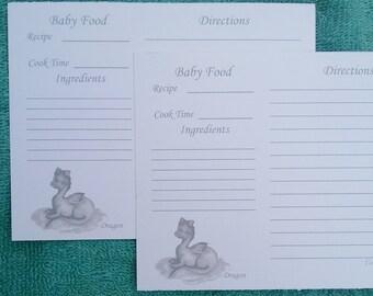 Food recipes etsy recipe cards baking recipe cards dragon baby food recipe cards baby food recipe forumfinder Gallery
