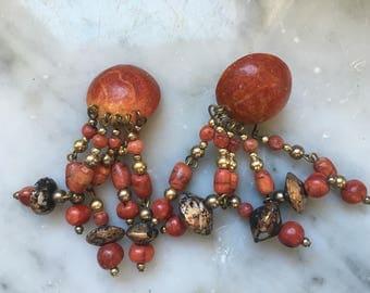 Vintage years ' 80 red pendant earrings