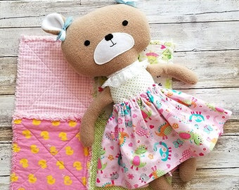 Fabric Teddy Bear - Dress up Doll - Soft Bear Bear Doll - Stuffed Animal - Handmade Cloth Doll