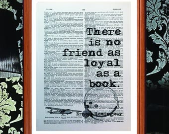 Ernest Hemingway quote  - dictionary page art print home decor present gift