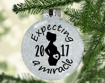 Pregnancy ornament  - expecting ornament - expecting a miracle - expectant mom gift- pregnancy announcement - we're expecting- gifts for her