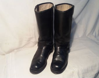 Vintage Black Leather Cowboy Boots
