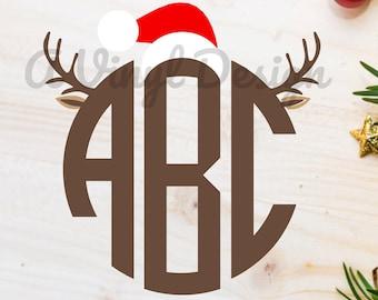 Reindeer Deer Antler Monogram Heat Transfer Santa Hat