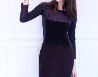 Dress long sleeves with cut-outs. Black, red and Navy