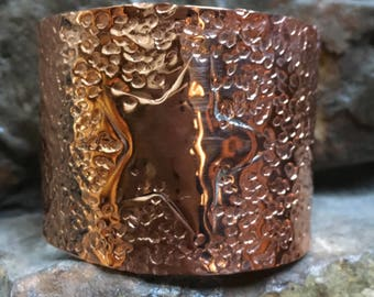 Bright Copper Hammered Cuff with Star
