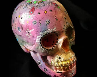 Sculpture, Plaster Skull, Human Waist, Mandala Artwork,