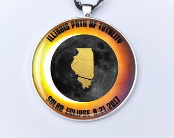 """Illinois Path of Totality Ornament Carbondale Illinois Solar Eclipse 2017 Ornament - 2"""" Christmas Ornament - Car Rear View Mirror Ornament"""