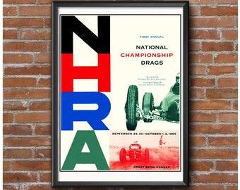 First NHRA Nationals Event Poster – 1955 Great Bend Kansas – Vintage Drag Racing