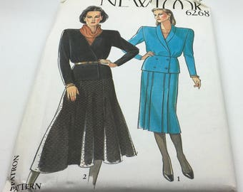 New Look Sewing Pattern 6268 Misses Jacket Skirt Flared Pleated Straight Cotton Drill Linen Wool Shoulder Pads  Size 8 10 12 14 16 18