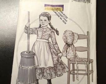 Butterick B4569 Making History Sewing a Pattern Children's Girls Colonial Costume Semi Fitted Dress Apron Pantaloons Size 12 14 16 Uncut