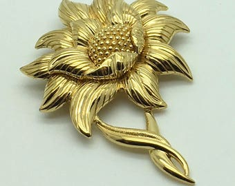 Vintage Monet Sunflower Flower  Brooch Pin 3 D Textured  Spring Summer Wedding Brooch Bouquet  Gift For Her Mother's Day