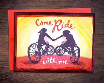 Come Ride With Me Bicycle Valentine's Day Card - Cyclist, Triathlete, Bike Love Anniversary Card
