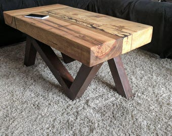 Bespoke Solid Oak And Pine Coffee Table With Lichtenberg Burn