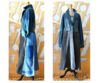 Denim coat Duster coat Maxi dress Denim dress Cotton dress Boho Grunge Goth Steampunk Hippie Festival Hipster Folk Goa Pixie A line