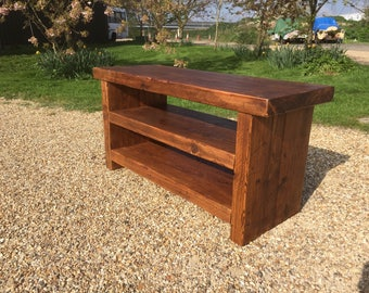 Reclaimed TV Stand/Coffee Table With Shelf Bespoke Rustic Solid Pine Wooden