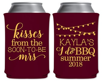 Customized Collapsible Foam Coolers Beverage Insulators Bridal Shower Favors | Kisses From The Soon-To-Be Mrs | I Do BBQ | READ DESCRIPTION