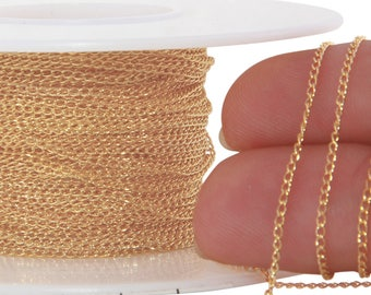 1 FT 1.15x1.7 mm 14K Gold Filled Curb Chain 29 Gauge (GF1120C) Price Per Foot