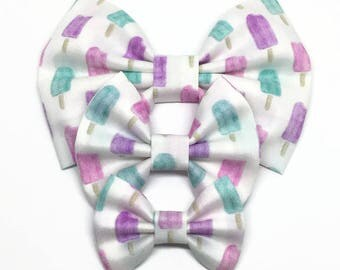 Popsicle Bow - Watercolor Bow - Popsicle Hair Bow - Summer Bow - Baby Headband - Summer Headband - Fabric Hair Bow - Pastel Popsicle Bow -