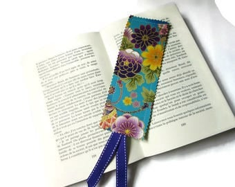 bookmarks with Japanese fabric, flowers, blue green multicolor