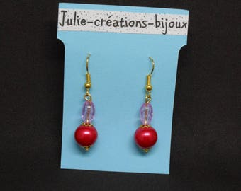 Earrings red and pale purple with glitter