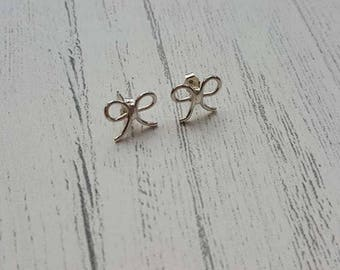 Bow Stud Earrings - Silver Bow Studs - Bow Earrings - Bridal Earrings - Bridesmaid Jewellery - Wedding Jewellery - Sterling Silver Studs -UK