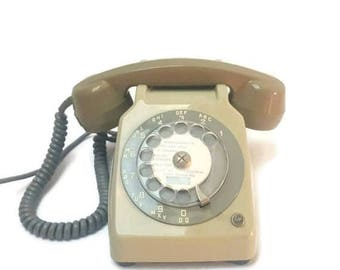 10% OFF French telephone with rotating dial PTT France, green colour , vintage telephone, French decoration