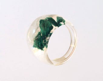 Rough Malachite Ring, Resin Ring, Mineral Ring, White Green Ring, Clear Ring, Resin Jewelry, Raw Malachite jewelry, Party ring, Summer ring